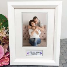 Anniversary Photo Frame White Wood 4x6 Photo