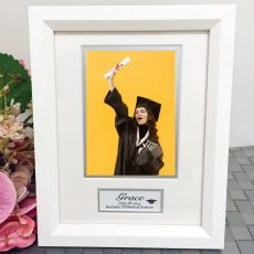 Graduation Photo Frame White Wood 4x6 Photo