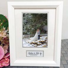 Wedding Photo Frame White Wood 4x6 Photo