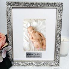 Christening Personalised Ornate Silver Photo Frame Louvre 4x6