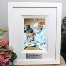 100th Birthday Personalised Photo Frame Silhouette White 4x6