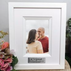 40th Birthday Personalised Photo Frame Silhouette White 4x6