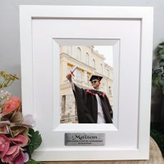 Graduation Personalised Photo Frame Silhouette White 4x6