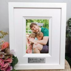 Uncle Personalised Photo Frame Silhouette White 4x6