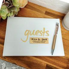 Anniversary Guest Book & Pen White & Gold