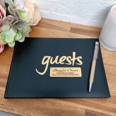 Baptism Guest Book & Pen Black & Gold