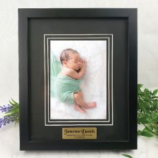 Baby Personalised Photo Frame Black Timber Verdure 5x7