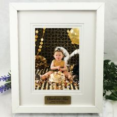 1st Personalised Photo Frame White Timber Verdure 5x7