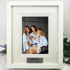 50th Personalised Photo Frame White Timber Verdure 5x7