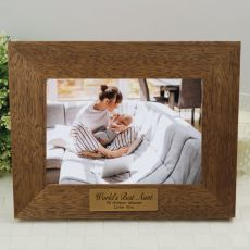 Aunt Personalised Teak Photo Frame with Gold Plaque