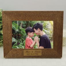 Mum Personalised Teak Photo Frame with Gold Plaque