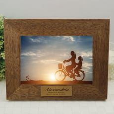 Personalised Teak Photo Frame with Gold Plaque