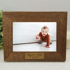 Naming day Personalised Teak Photo Frame with Gold Plaque