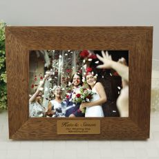 Wedding Personalised Teak Photo Frame with Gold Plaque