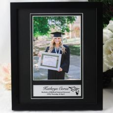 Graduation Personalised Photo Frame 6x8 Black/Silver