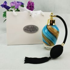 21st Birthday Perfume Bottle w Personalised Bag Blue Swirl