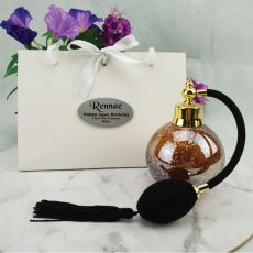 50th Birthday Perfume Bottle w Personalised Bag Gold Fleck