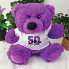 Personalised 50th Birthday Teddy Bear Plush Purple