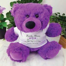 Christening Teddy Bear Plush Purple Verse