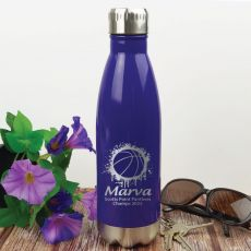 Basketball Coach Engraved Stainless Steel Drink Bottle - Purple