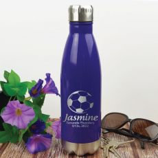 Soccer Coach Engraved Stainless Steel Drink Bottle - Purple