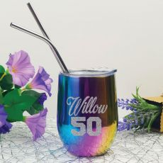 50th Birthday Rainbow Tumbler Stemless Wine Glass