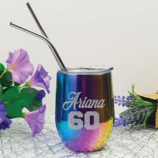 60th Birthday Rainbow Tumbler Stemless Wine Glass