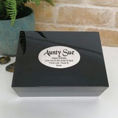 Aunt Personalised Black Trinket Jewel Box