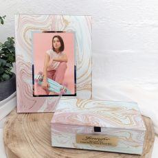 Personalised Marmo Frame & Jewel Box Set