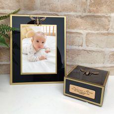 Baptism Black Bee 5x7 Frame & Jewel Box Set