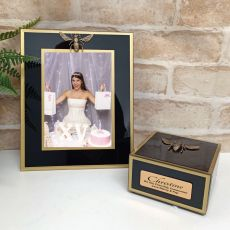 First Communion Black Bee 5x7 Frame & Jewel Box Set