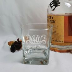 40th Birthday Engraved Personalised Scotch Spirit Glass (F)