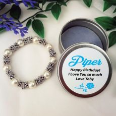 Silver Glass Bracelet with Personalised Tin