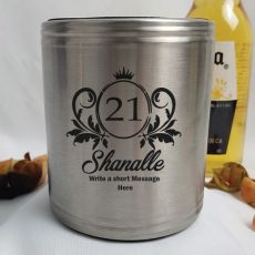 21st Birthday Engraved Silver Stubby Can Cooler (F)