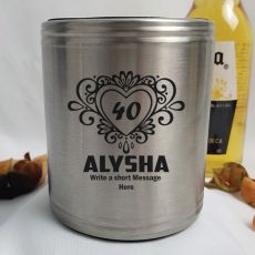 40th Birthday Engraved Silver Stubby Can Cooler  (F)
