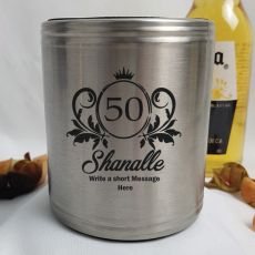 50th Birthday Engraved Silver Stubby Can Cooler Personalised Message (F)