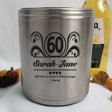 60th Birthday Engraved Silver Stubby Can Cooler Personalised Message (F)