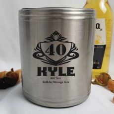 Personalised 40th Silver Can Cooler- Male Gift