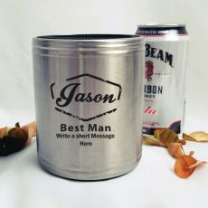 Best Man Engraved Silver Stubby Can Cooler Personalised Message