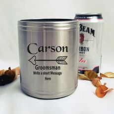 Groomsman Engraved Silver Stubby Can Cooler Personalised Message