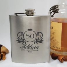 50th Birthday Engraved Personalised Silver Hip Flask (F)