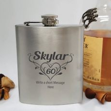 60th Birthday Engraved Personalised Silver Hip Flask (F)
