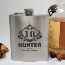 18th Birthday Engraved Personalised Silver Hip Flask (M)
