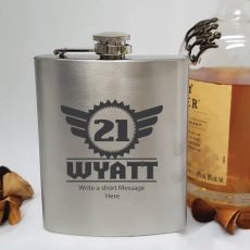 21st Birthday Engraved Personalised Silver Hip Flask (M)