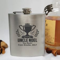 Uncle Engraved Silver Flask