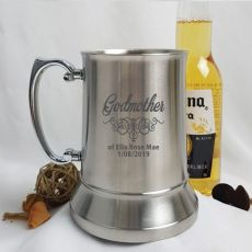 Godmother Engraved Personalised Stainless Beer Stein Glass