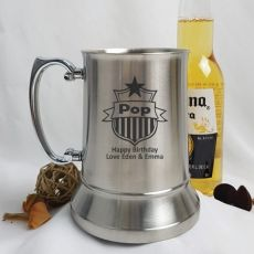 Pop Engraved Personalised Stainless Beer Stein Glass