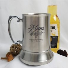 Mum Engraved Personalised Stainless Beer Stein Glass