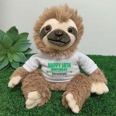 Personalised 18th Birthday  Sloth Plush - Curtis