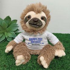 Personalised 21st Birthday  Sloth Plush - Curtis
